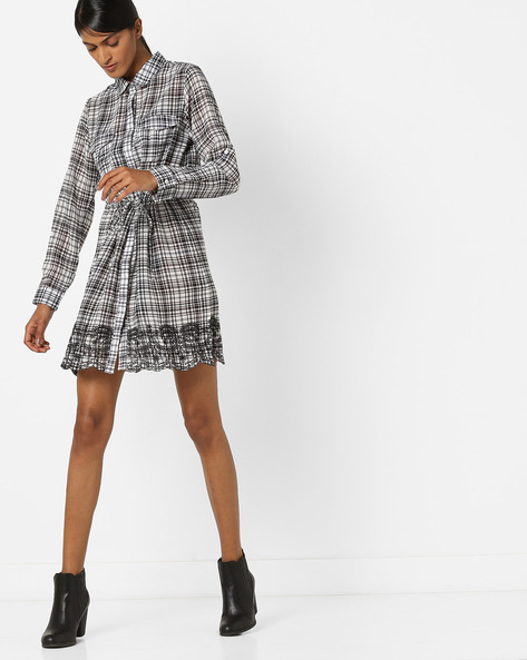 Checked Shirt Dress With Embroidery By RIO ( Black )