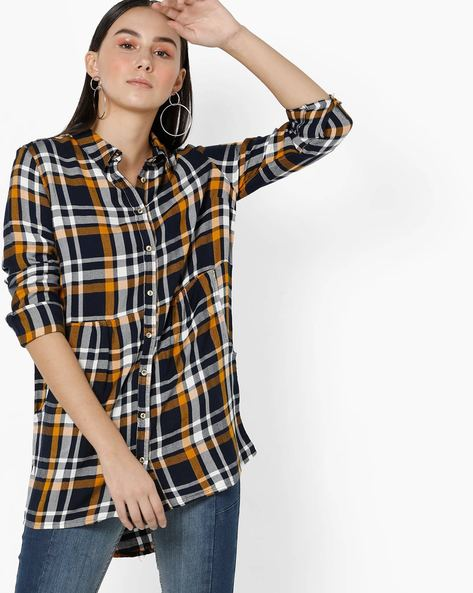 Longline Checked Shirt With Patch Pockets By Only ( Grey )