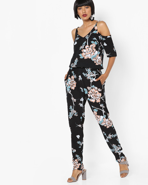 Printed Strappy Cold-Shoulder Jumpsuit By SAINT TROPEZ ( Blue )