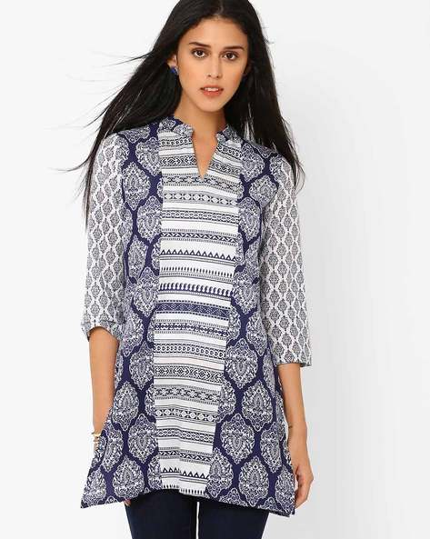 Printed Tunic With Mandarin Collar By AJIO ( Blue )