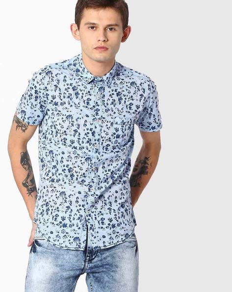 Floral Print Slim Fit Cotton Shirt By MUFTI ( Lightblue )