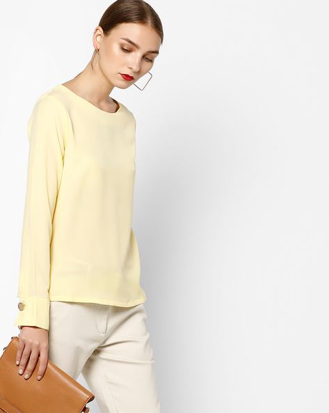 Long Sleeved Top With Back Keyhole By AJIO ( Yellow )