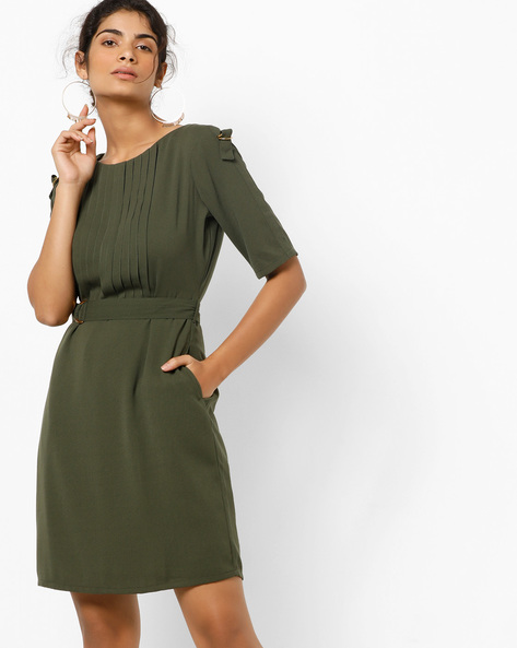 Sheath Dress With Pleated Front By AJIO ( Darkgreen )
