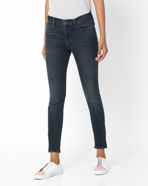 Super Skinny Fit Ankle-Length Jeans By LEVIS ( Blue )