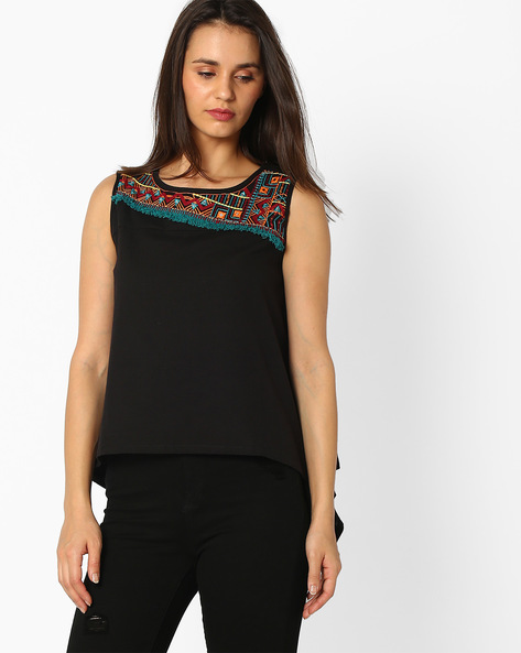 Sleeveless Top With Waterfall Hem By Global Desi ( Black )