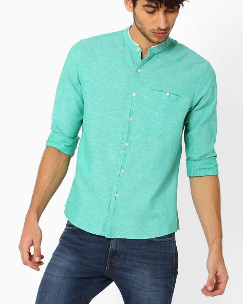 Casual Shirt With Band Collar By NETPLAY ( Green )