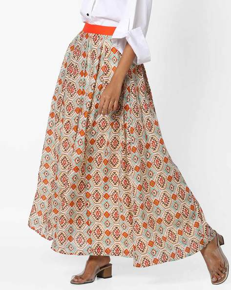 Printed Maxi Skirt With Pleats By AJIO ( Beige )