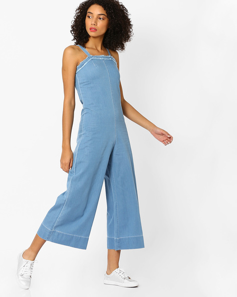 Strappy Denim Jumpsuit By AJIO ( Lightblue )