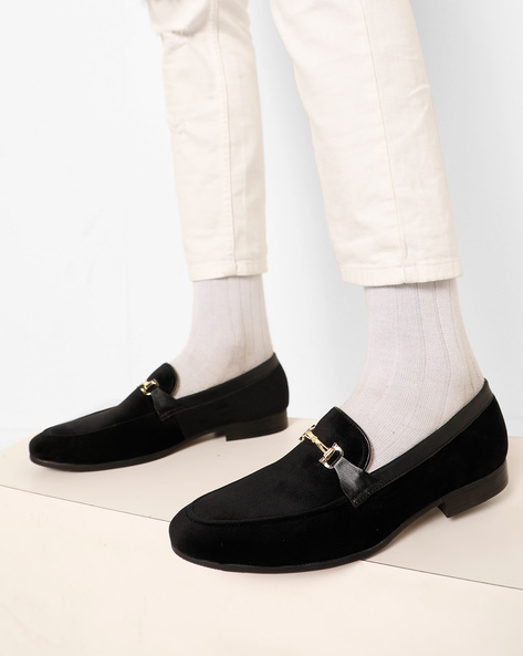 Velvet Loafers With Metal Accent By Modello Domani ( Black )