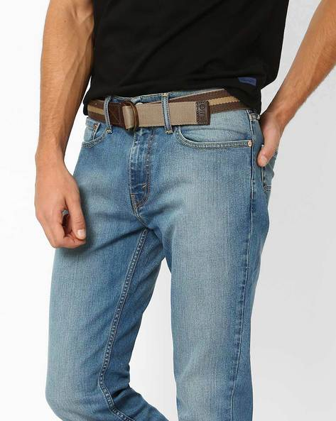 Canvas Belt With D-ring Buckle By AJIO ( Olive )