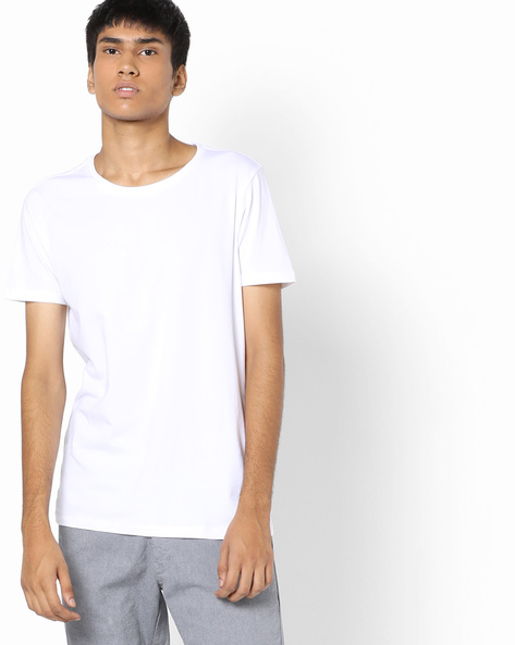 Crew-Neck T-shirt With Short Sleeves By AJIO ( White )