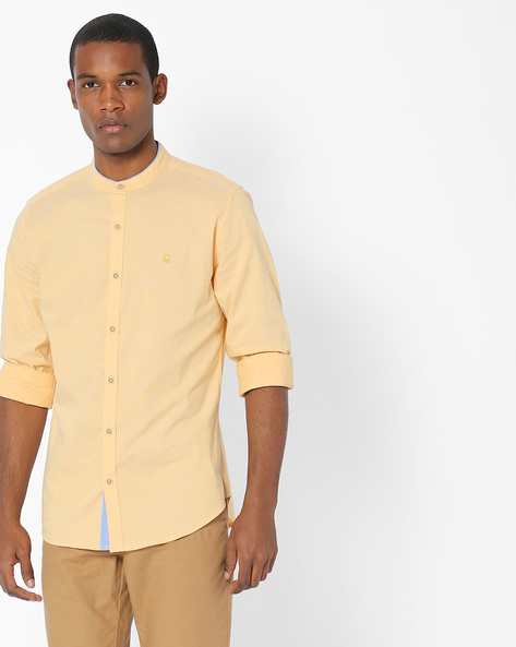 Slim Fit Shirt With Band Collar By UNITED COLORS OF BENETTON ( Yellow )