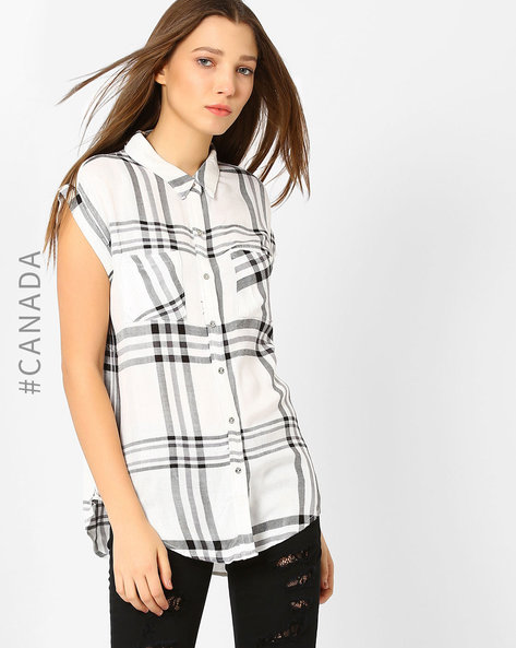 Checked Shirt With Patch Pockets By Point Zero ( Black )