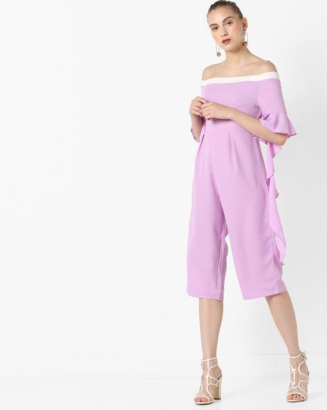 Off-Shoulder Culotte Jumpsuit By AJIO ( Lilac )