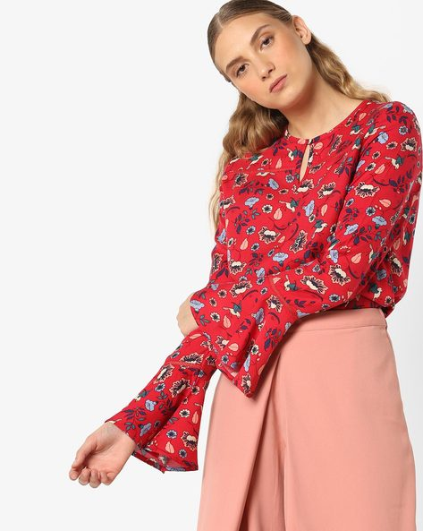 Floral Print Top With Bell Sleeves By AJIO ( Red )