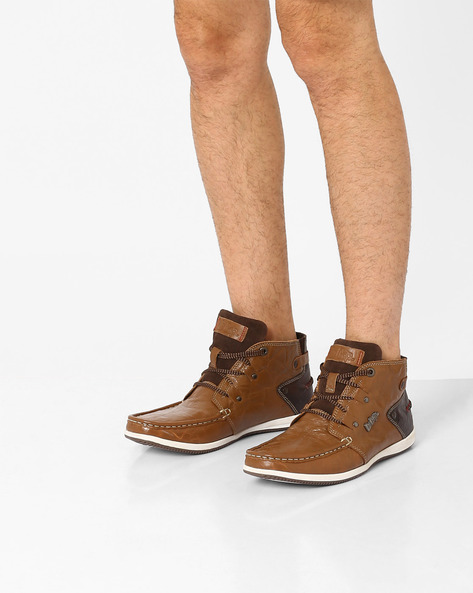 High-Top Genuine Leather Boots By Lee Cooper ( Tan )