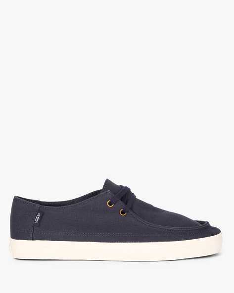 Textured Canvas Lace-Up Shoes By Vans ( Blue )