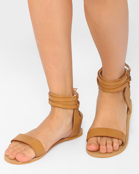 Ankle-Strap Flats With Buckle Closure By MFT Couture ( Beige )