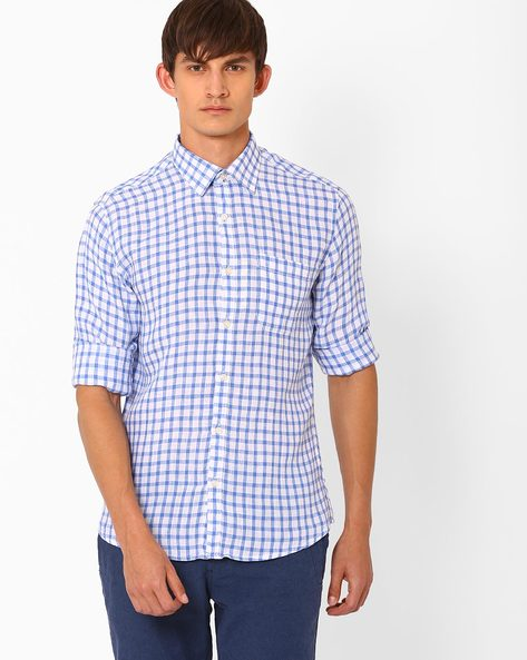 Checked Linen Shirt With Patch Pocket By NETWORK ( Blue )