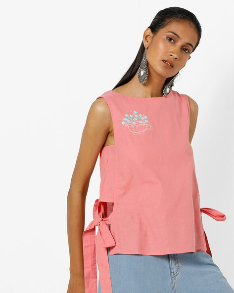 High-Low Top With Tie-Up By AJIO ( Peach )
