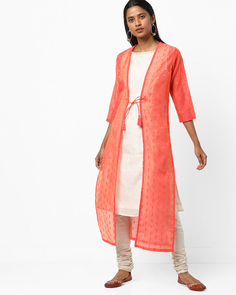 Open-Front Sheer Jacket With Dori Tie-Up By AJIO ( Coral )