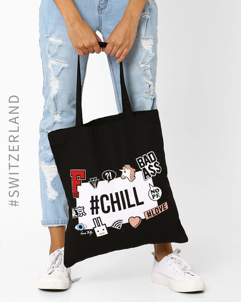 Canvas Printed Tote Bag By TALLY WEiJL ( Black )