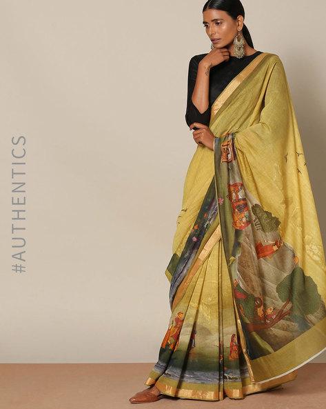 Designer Pure Chanderi Mughal Print Saree By Rudrakaashe-MSU ( Green )
