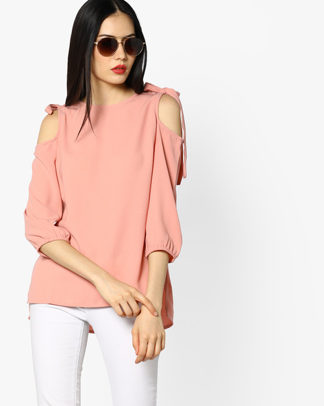 Cold-Shoulder Top With Tie-Ups By Femella ( Pink )
