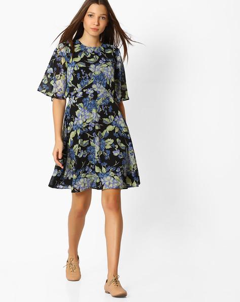 Floral Print A-line Dress By Femella ( Black )