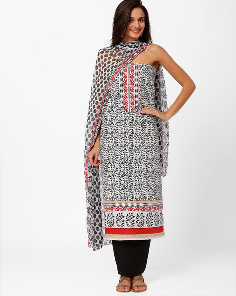 Printed Cotton Dress Material By Hhara ( White )
