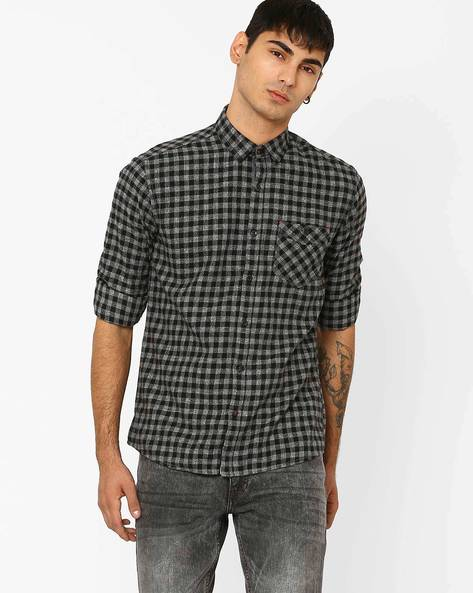 Slim Fit Checked Shirt With Patch Pocket By Killer ( Assorted )
