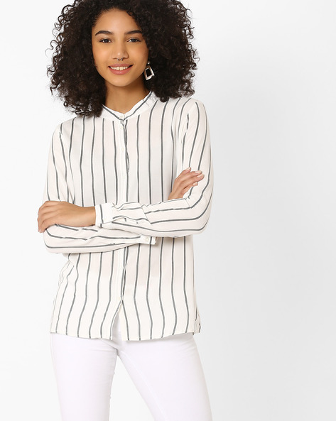 Striped Shirt With Band Collar By Only ( White )