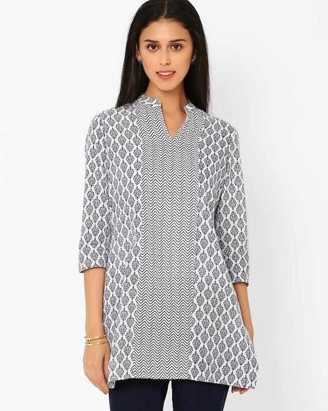 Jaipuri Print Tunic By AJIO ( Blue ) - 460008281002