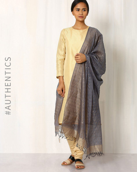 Handwoven Sequinned Silk Cot Dupatta By Indie Picks ( Grey )
