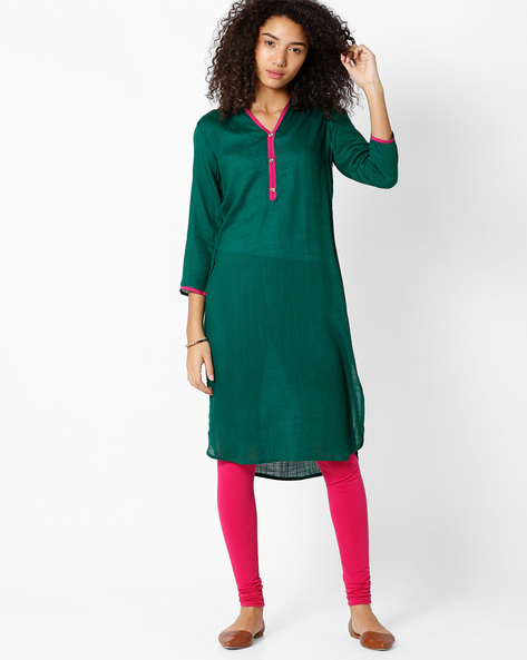 Straight Kurta With Curved Hemline By Indian Ink ( Green )