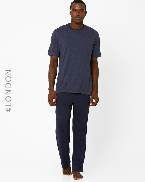 Striped Cotton T-shirt & Pyjama Set By Marks & Spencer ( Navy )