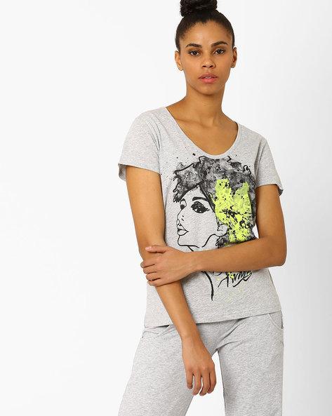 Graphic Print T-shirt By Puma ( Green )
