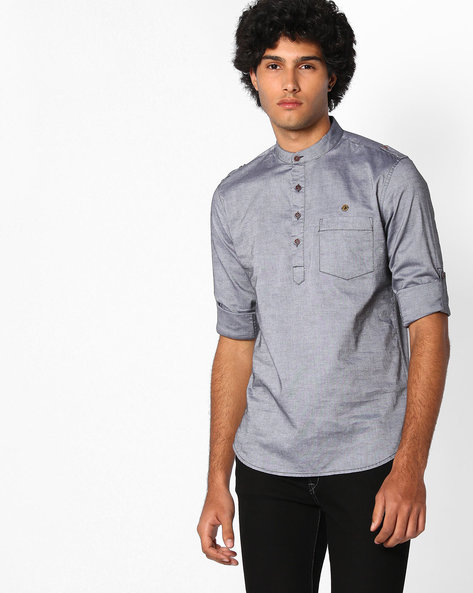 Slim Fit Cotton Shirt By The Indian Garage Co ( Black ) - 460064090006