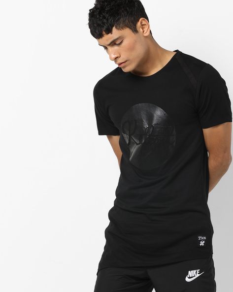 Printed Slim Fit Cotton T-shirt By KULTPRIT ( Black )