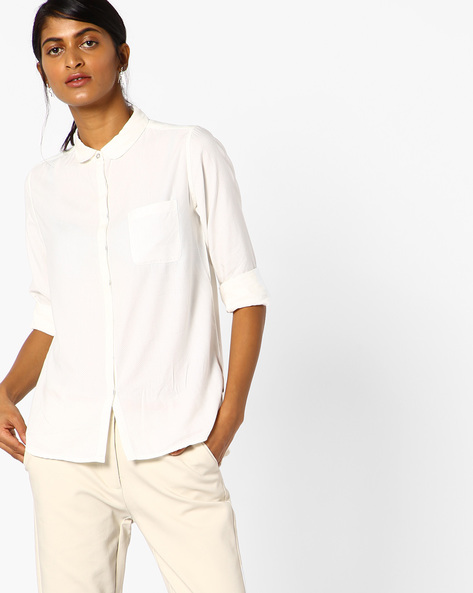Slim Fit Chevron Patterned Shirt Top With Concealed Placket By Lee ( White )