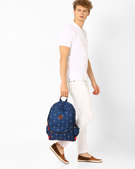 Anchor Print Backpack By AJIO ( Navy )