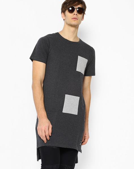 Super Longline T-shirt With Patch Pocket By KULTPRIT ( Darkgrey )