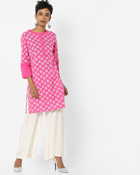 Printed Straight Kurta With Button Placket By AJIO ( Fuchsia )
