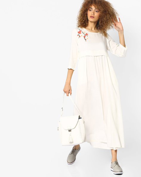Maxi Dress With Floral Embroidery By AJIO ( White )