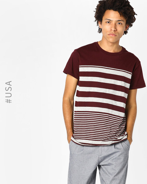 Crew-Neck T-shirt With Variegated Striped By Aeropostale ( Pink )
