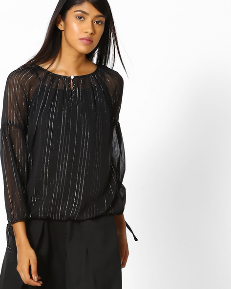 Striped Sheer Top With Tie-Up Sleeves By Oxolloxo ( Black )