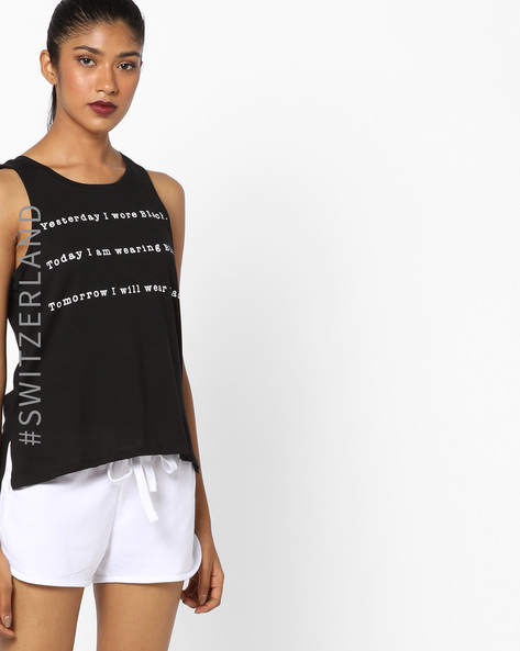Typographic Print High-Low Top By TALLY WEiJL ( Black )