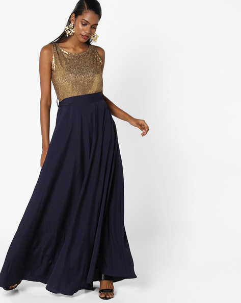 Sequinned Colourblock Maxi Dress By Tokyo Talkies ( Multi )