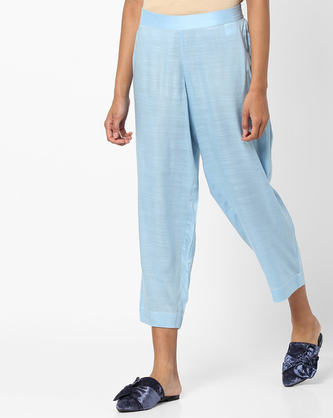Ankle-Length Pants With Elasticated Waistband By AJIO ( Blue )
