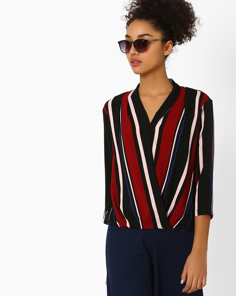 Overlapping Front Striped Top By AJIO ( Burgundy )